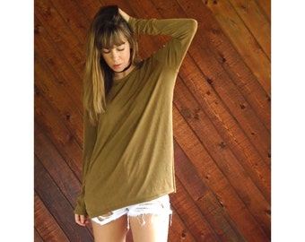 Slouchy Slinky l/s Tee Shirt in Golden Brown - Vintage 90s - OS