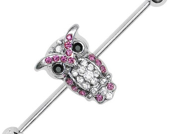 14G Owl CZ Industrial Barbell (1.6 x 40 x 5 mm) 1 piece ,One Piece 316l Surgical Steel Nickel Free Owl Size :13mm (0.5'')