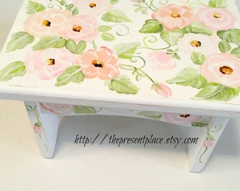 personalized stepstool,pink,peach,step stool,roses, flowers,girls step stool,kids bench,baby's stepstool,childrens bench,distressed