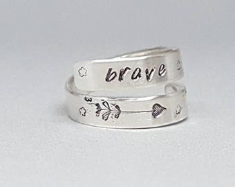Sterling silver - Self esteem - Courage - Cancer support - adjustable - brave wrap ring - ring for her - love - arrow ring - size 6.5
