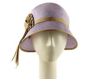 Straw Hat for Women, Cloche Hat Wedding Hat, Mother of the Bride Hat, 1920s Fashion Hat, Purple Hat, Flapper Hat, Ladies Hat Art Deco Design