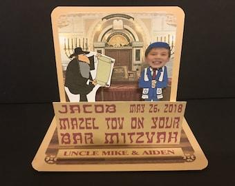 Bar Mitzvah or Bat Mitzvah Congratulations card with Bobblehead