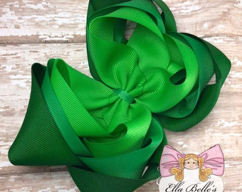 Green Ombre Triple Bow~ triple stacked bow, triple boutique bow, green triple bow, triple stack bow