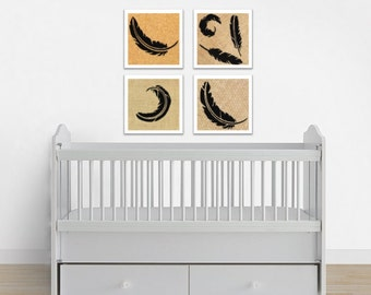 Feather Art Print Set - Feather Decor - Feather Wall Art - Nursery Print Set - Baby Boy Decor - Baby Girl Decor - Feather Painting Set