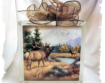Bugling Elk in the Fall Glass Block Night Light