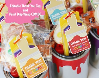Editable Art Party Thank You Tags and Paint Dripping Can Wrap Template COMBO   Paint Can Party Favor   Instant Download   seevanessacraft