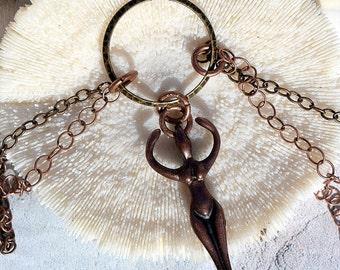 Mixed Metal Goddess Necklace, Antique Brass, Antique Copper,Jewelry, Necklace, Goddess necklace,Jewelry