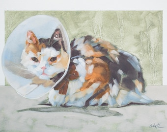 """Cat Oil Painting, Original Fine Art Painting of Cat with a Cone, Gift for Veterinarian or Animal Lover - """"Miss Maos and Her Bonnet"""""""