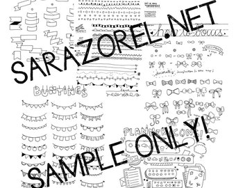 Doodle with Me : Printables (Set A - Borders, Banners, Buntings, Bows and Planner Icons)