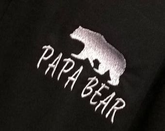 Papa Bear Embroidered Black polo shirt - Father's Day, Dad, Daddy, Gifts for him, Daddy bear,