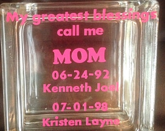 Personalized Mother's Day Glass Block