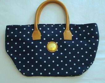 vintage 80s capezio tote - handbag - navy blue with white polka dots