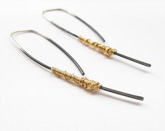 Simple Dangle Earrings- Modern Silver Hoop- Open Hoop Earrings- Oxidized- Minimalist Earrings
