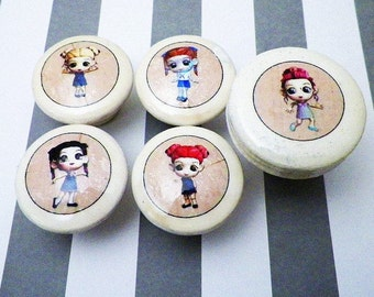 """Chibi Kawaii Anime Furniture Knobs for Girls.  In 1.25 or 1.5"""" Size."""