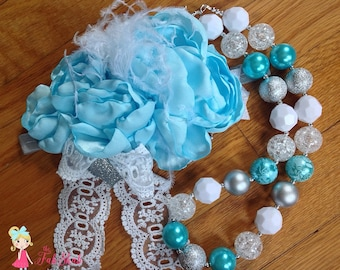 Frozen Baby Blue OTT satin singed flower headband with flower and matching necklace for girls boutique set