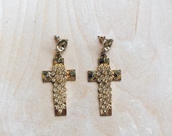 Gold Cross statement earrings - Vintage style