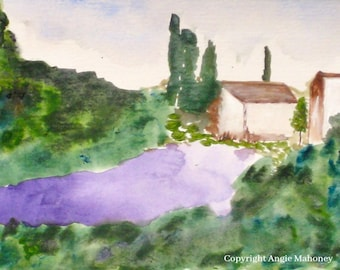 "Landscape Painting, Lavender Field, Provence Farmhouse Art, Country Living Art- Giclee Print of Fine Art Watercolor- ""Lavender Fields"""