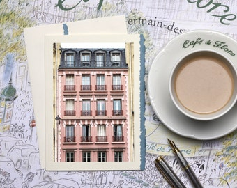 Paris Photography Notecard -Pink Building in Saint Germain, Stationery, Blank Card, Greeting Card, Print on Ivory Card with Blue Deckle Edge