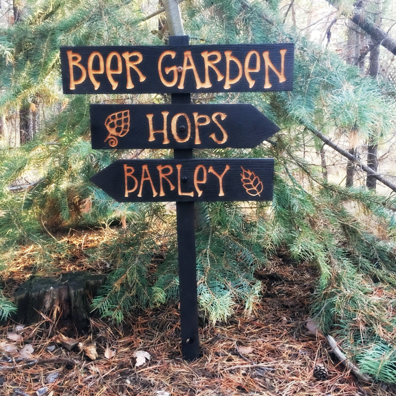 Beer Garden Directional Lawn Ornament Sign   Home Brewing Beervana Hops  Barley Fathers Day Fun Lawn Signs Decr Decoration Cedar Wood Decor