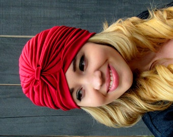 Turban Cap Womens Turban Cloche Red Turban Stretch Turban Hat Pleated Design Womens Hat Turbans - CHOOSE Your Color