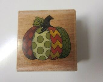Halloween Polka Dot-Chevron Pumpkin Rubber Stamp-Thanksgiving Stamp-Halloween Stamp-Patchwork Pumpkin Stamp