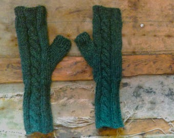 Forest Green Cable Knit Fingerless Mittens