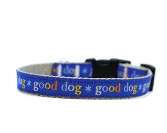 5/8 or 3/4 Inch Wide Dog Collar with Adjustable Buckle or Martingale in Good Dog Blue