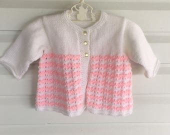 READY TO SHIP: Knitted girls Cardigan/ baby jumper/knitted jacket