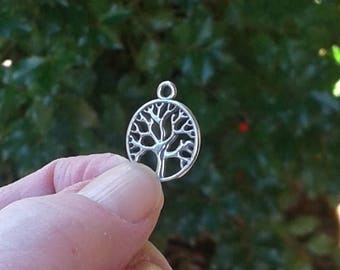 "Sterling Silver Tree of Life Charm - 9/16"" or 15 mm"