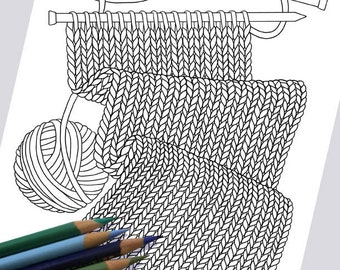 WORK IN PROGRESS Coloring Page / Printable Coloring Page / Drawing of Knitting / Pdf Knitting Art