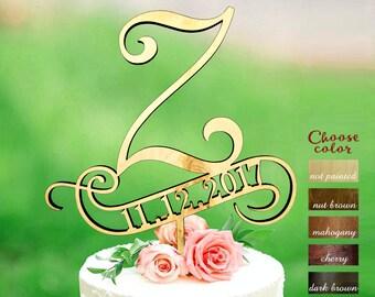z cake topper, wedding cake topper, rustic monogram cake topper wedding, date wedding cake topper, wooden cake topper, cake topper z, CT#279