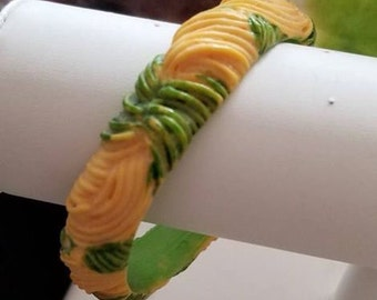 1930's-1940's Vintage Molded Celluloid Bangle Heavy Swirl Carvings Spring Green & Lemon Yellow~Unique Colors~Flawless