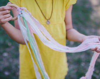 Silk Hand Kite/ Waldorf/ pastel play silk/ribbon dancer/ streamer/worship flag/flower girl gift/ wedding/ birthday gift/ Spring gift