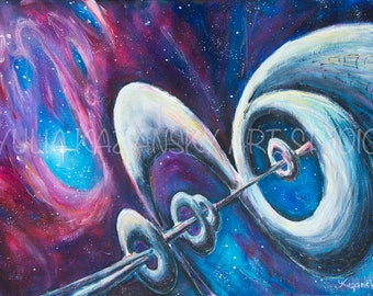 Space art Science fiction original acrylic painting Inter Dimensional Corridor Astronomy art Fantasy nebula galaxy painting Cosmos painting
