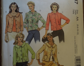 McCalls M5007, sizes 6-12, misses, petite, lined jackets, UNCUT sewing pattern