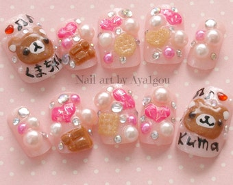 Japanese 3D nail, Harajuku, Jfashion, kawaii, kuma, bear, fake sweets, glittery, sweet lolita, fairy kei, press on nails, deco nail, pink