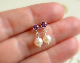 Child's Amethyst Earrings, Real Gemstone, Freshwater Pearl Dangles, Children, Sterling Silver Ear Studs, February Birthstone Jewelry