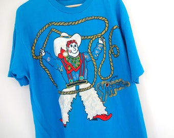 Vintage COWBOY Tee • 1990s Clothing • Oversized Glitter Puffy Paint Rhinestone Bright Blue Soft Cotton T Shirt Western Extra Large Women Men