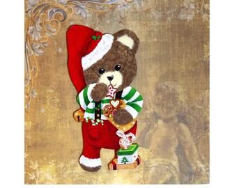 "Honey Bear ""Christmas Elf"" wood and paper"