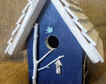 Rustic Navy birdhouse.Handmade in Michigan, outdoor quality, easy clean and hanger included.