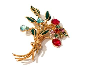 Rhinestone Enamel Floral Brooch, Large Pastel Color Crystal Flowers, Gold Tone, Aquamarine Pink Topaz, Floral Bouquet, Vintage Gift For Her