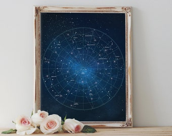 Constellation Printable, Abstract Art, Stars, Instant Download, Printable Wall Art, Galaxy, Constellation Art Print, Home Decor, Night Sky