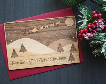 Twas the Night Before Christmas - Wooden Christmas Card - Winter Scene - Santa Claus