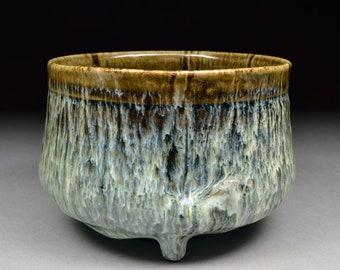 Handmade Matcha Chawan Teabowl Tea Ceremony Glazed with Tenmoku and Nuka