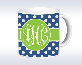 Monogram Mug - Polka Dot Monogrammmed Mug - Personalized Mug