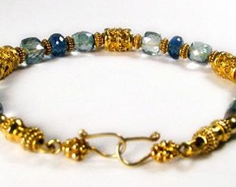 Bali - London Blue Topaz, Green Amethyst and Balinese Beads Bracelet