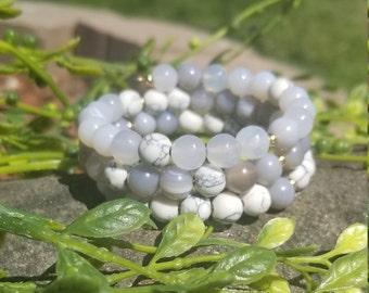 White Howlite + Agate Combo Wrap Bracelet