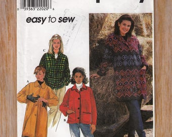 "Women's Sewing Pattern Oversized Baggy Jacket or Coat Size 18-24 Bust 40-46"" Waist 32-39"" Simplicity 8299 UNCUT"