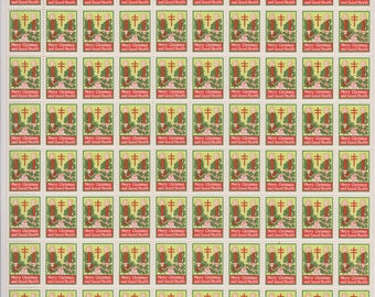 1925 Christmas Seals, Issued by the  National Tuberculosis Association, Full Sheet 100 Seals, Vintage Christmas Seals, Ephemera,
