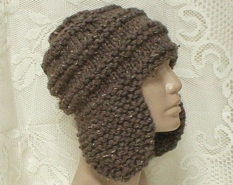 Taupe brown ear flap hat, trapper cap, barley brown hat, winter hat, toque, brown hat, beanie hat, mens womens knit hat, brown tweed hat